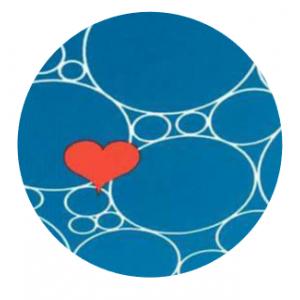 Blauw met rood hart