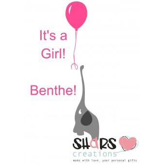 Geboorte sticker Olifant meisje